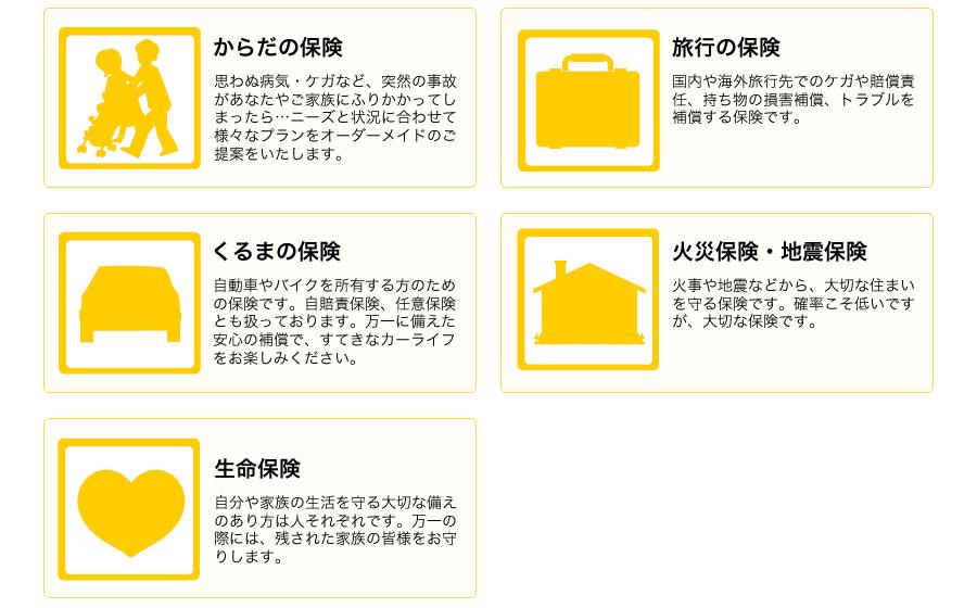 お取り扱い商品。からだの保険。旅行の保険。くるまの保険。火災保険・地震保険。生命保険。